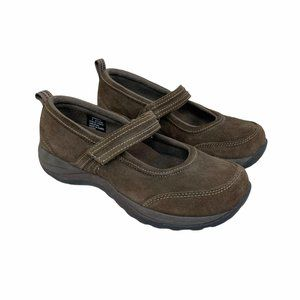 LL Bean Brown Suede Mary Jane Flats Comfort Mocs 7